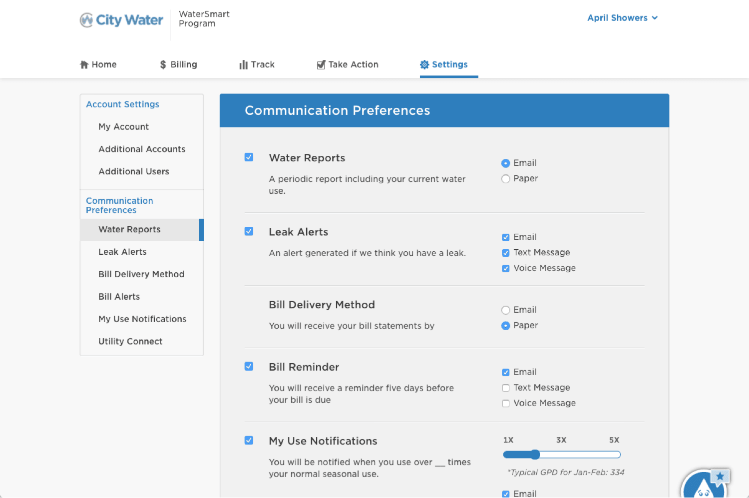 Communication Preferences Page
